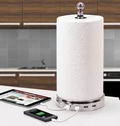 Four Device Charging Paper Towel Holder