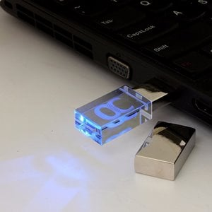 USB 3.0 16GB Waterproof Memory Stick LED Thumb Drive Crystal Transparent