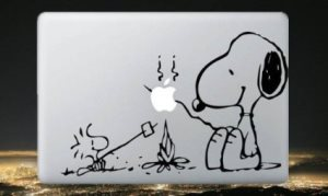 Macbook Vinyl Decal Sticker Snoopy and Woodstock Campfire