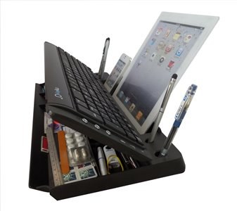 ipad accessories myKeyO 6-In-1 Full Size Bluetooth Keyboard with Stand and Organizer