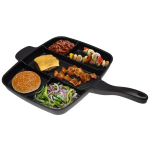 Master Pan Non-Stick Divided Grill/Fry/Oven Meal Skillet, 15""