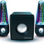 Sharper Image SBT5002 Water & Light Show Bluetooth Streaming 2.1 Speakers With Subwoofer & Beat Responsive Dancing Lights