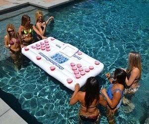 Floating Beer Pong Table with Cooler