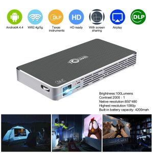 Mini Pico Projector HD DLP Projector hdmi 1080p Portable Wifi Wireless bluetooth home theater projector for smartphone