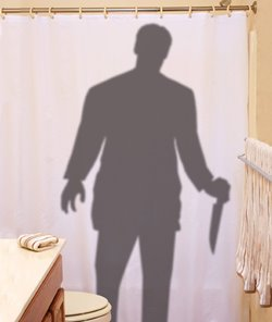Scary Stalker Shower Curtain Prop