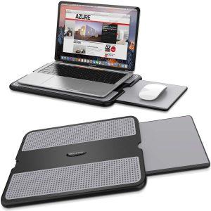 AboveTEK Portable Laptop Lap Desk w Retractable Left Right Mouse Pad Tray