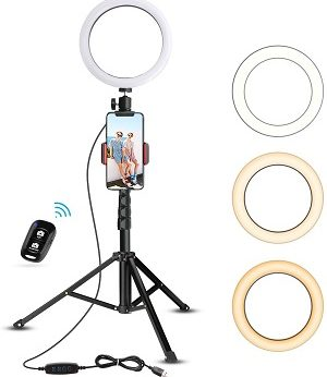 "home office ideas 8"" Selfie Ring Light with Tripod Stand & Cell Phone Holder for Live Stream"