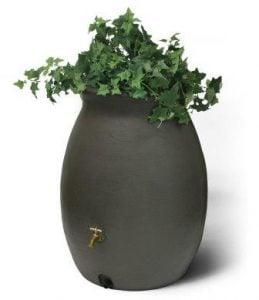 Algreen Castilla Rain Barrel with Brass Spigot, Brownstone, 50-Gallon