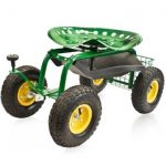 Garden Cart Rolling Work Seat With Tool Tray