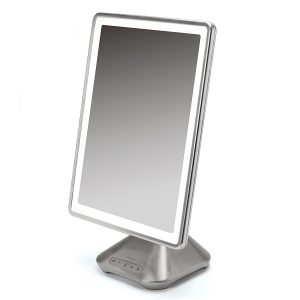 iHome Portable, Adjustable Vanity Mirror with Bluetooth Audio, Hands-Free Speakerphone, LED Lighting, Siri & Google Voice Assistant USB Charging, LED Lighting