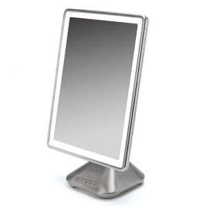 iHome Portable, Adjustable Vanity Mirror with Bluetooth Audio, Hands-Free Speakerphone, LED Lighting, Siri & Google Voice Assistant USB Charging, LED Lighting