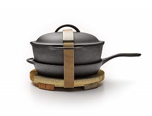 Barebones Cast Iron Kit, 12 Inch Skillet & Crock Pot with Lid, Trivet, Cleaning Mesh
