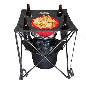 Camerons Products Tailgating Table- Collapsible Folding Camping Table with Insulated Cooler, Food Basket and Travel Bag for Barbecue, Picnic & Tailgate