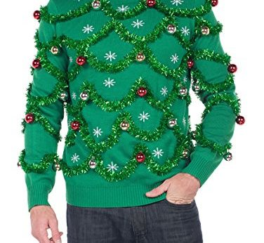 Green Garland Christmas Sweater with Ornaments ugly christmas sweaters